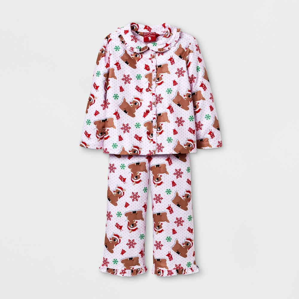 Toddler Girls Rudolph the Red Nosed Reindeer Pajama Set - White 3T