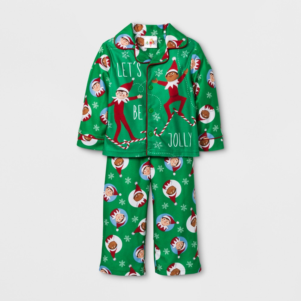 Toddler Boys Elf on the Shelf Pajama Set - Green 12M, Size: 12 M