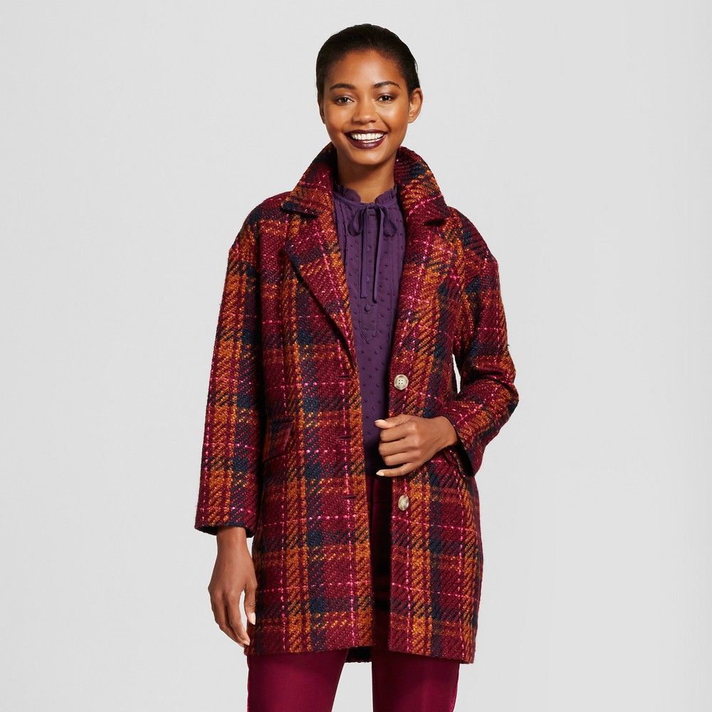 Womens Plaid Top Coat - A New Day Cherry S, Purple