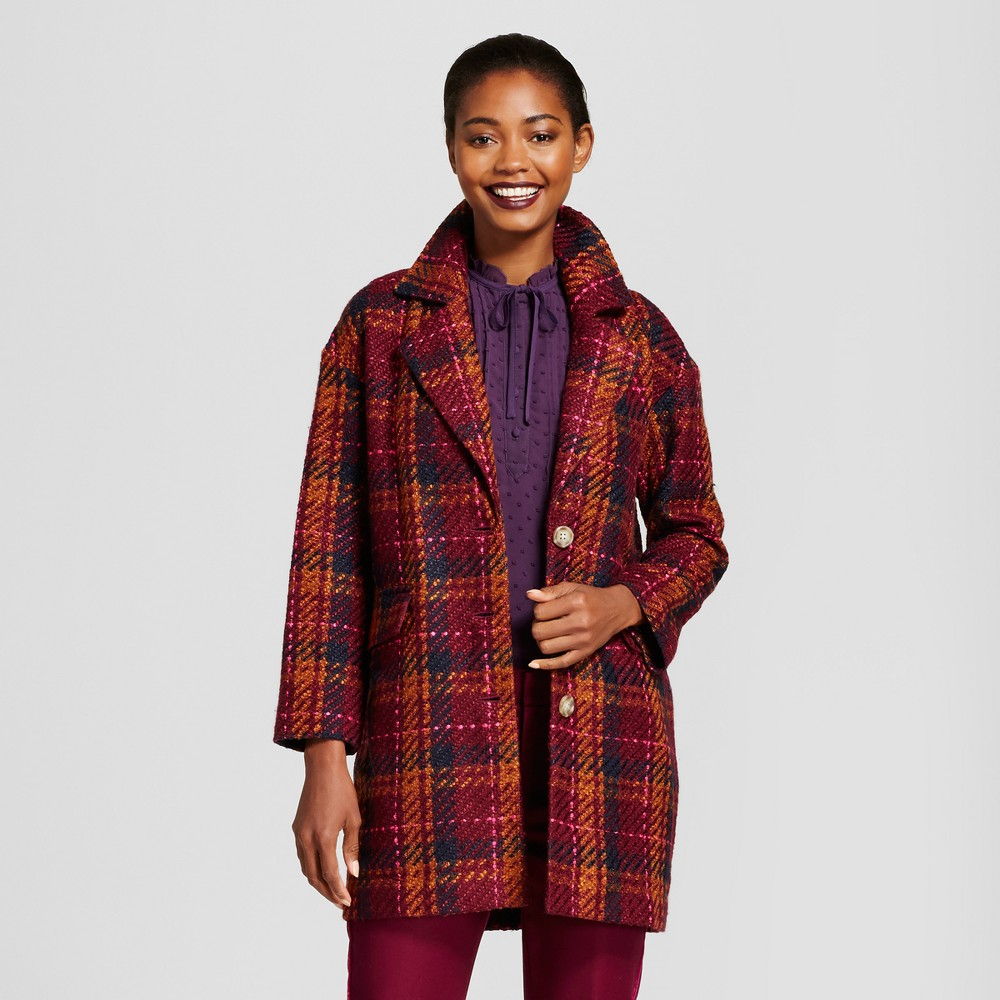 Womens Plaid Top Coat - A New Day Cherry L, Purple