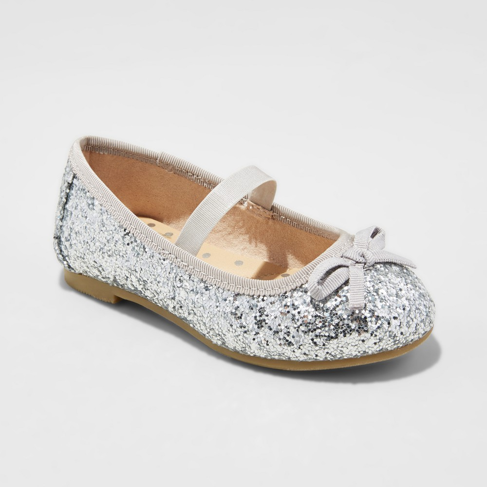Toddler Girls Cacey Glitter Ballet Flats Cat & Jack - Silver 12, Shiney Silver