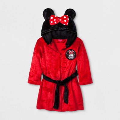 Toddler Girls' Minnie Mouse Robe - Red 2T-3T