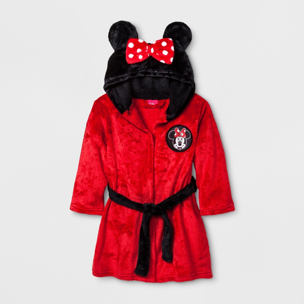 Toddler Girls Minnie Mouse Robe - Red 2T-3T, Size: 2T/3T