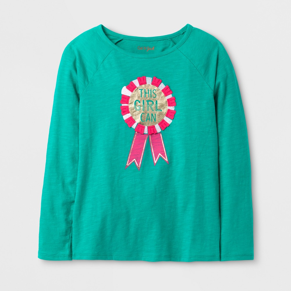 Girls Long Sleeve Prize Graphic T-Shirt - Cat & Jack Green S