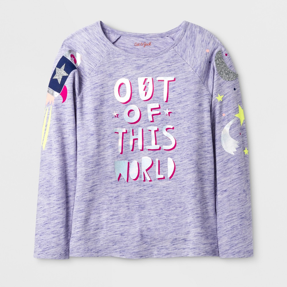 Girls Long Sleeve Out Of This World Graphic T-Shirt - Cat & Jack Purple XS