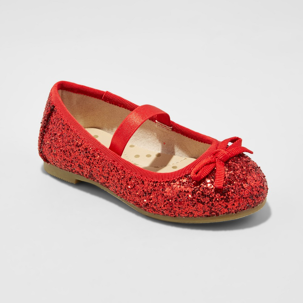 Toddler Girls Cacey Glitter Ballet Flats Cat & Jack - Red 11
