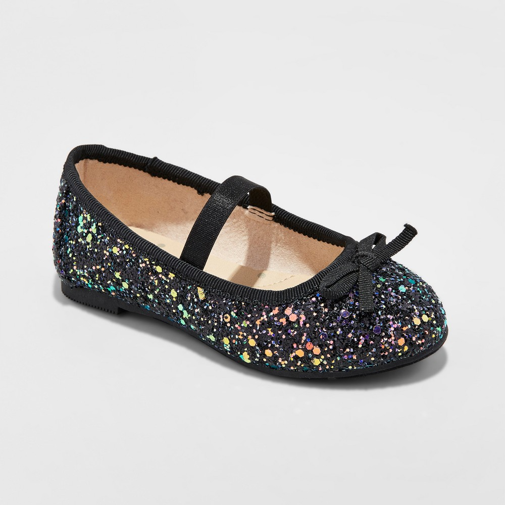 Toddler Girls Cacey Glitter Ballet Flats Cat & Jack - Black 9