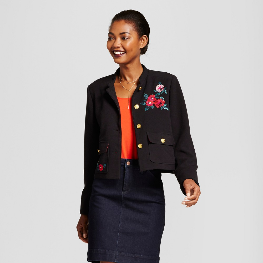 Womens Embroidered Military Jacket - A New Day Black 2