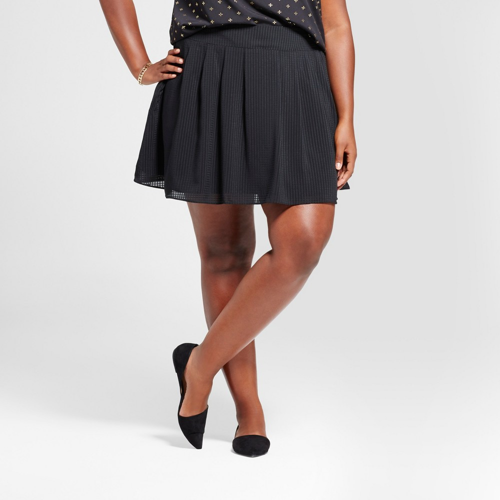 Womens Plus Size Pleated Skirt - A New Day Black 1X