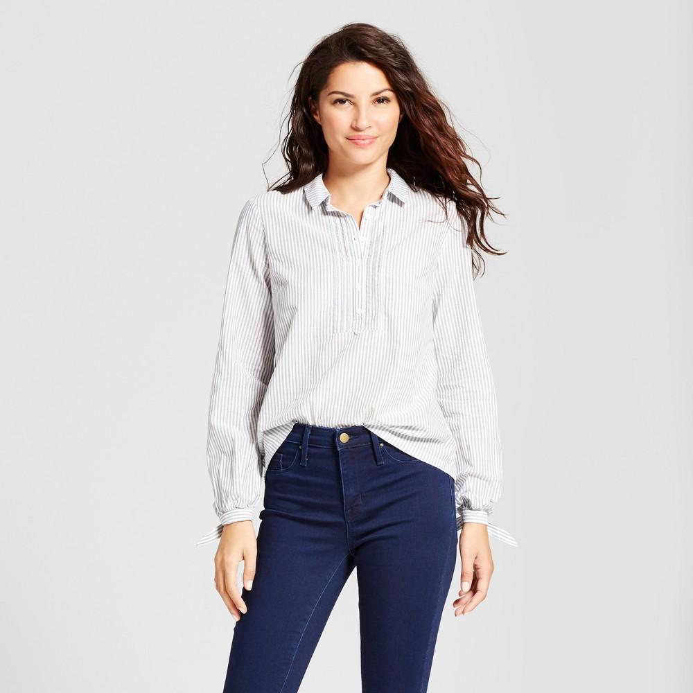 Womens Striped Tie Sleeve Shirt - A New Day Blue Xxl