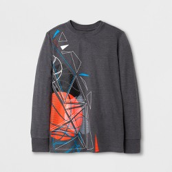 Boys' Long Sleeve Basketball Graphic T-Shirt - Cat & Jack™ Gray