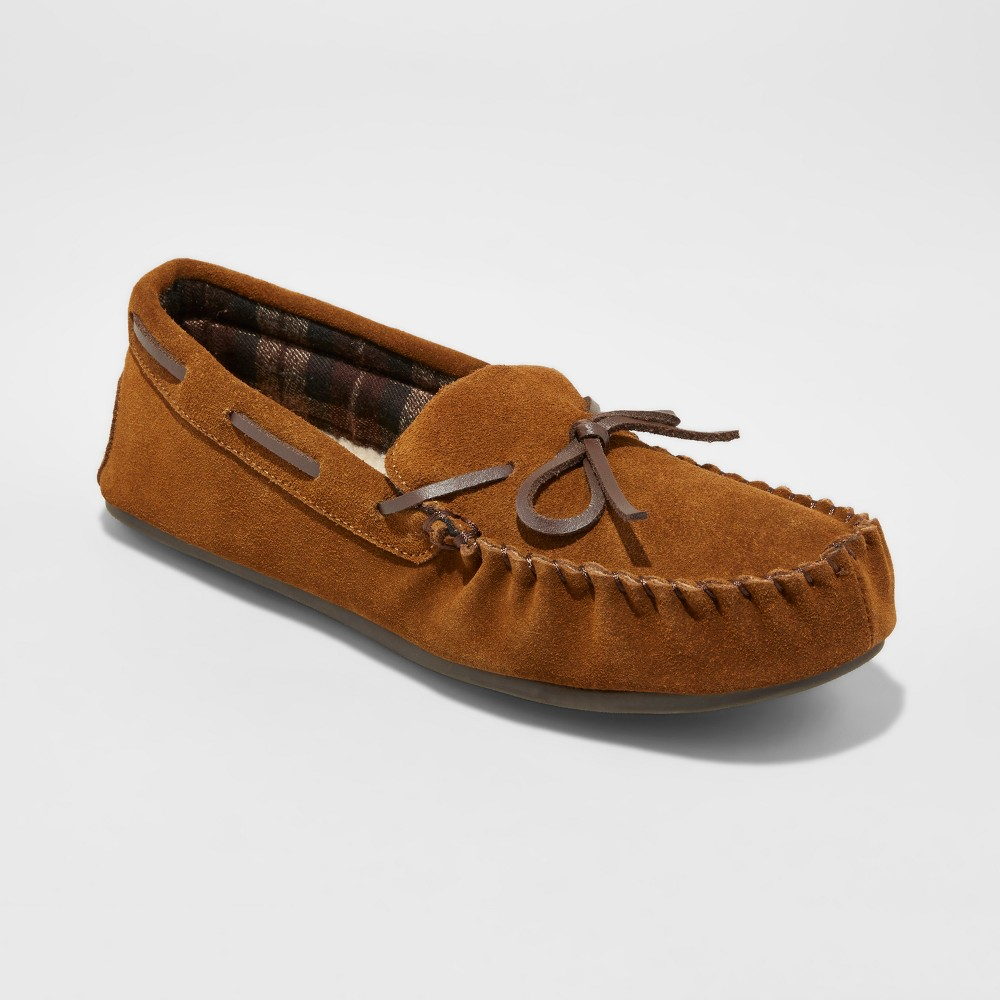 Mens Topher Suede Moccasin Slippers - Goodfellow & Co Walnut 9, Brown