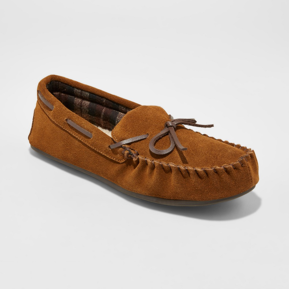 Mens Topher Suede Moccasin Slippers - Goodfellow & Co Walnut 13, Brown