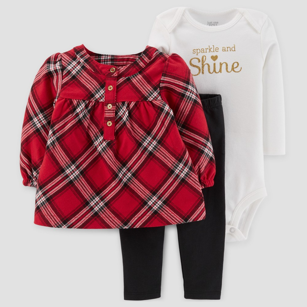 Baby Girls 3pc Flannel Tunic Set - Just One You Made by Carters Red Plaid 18M