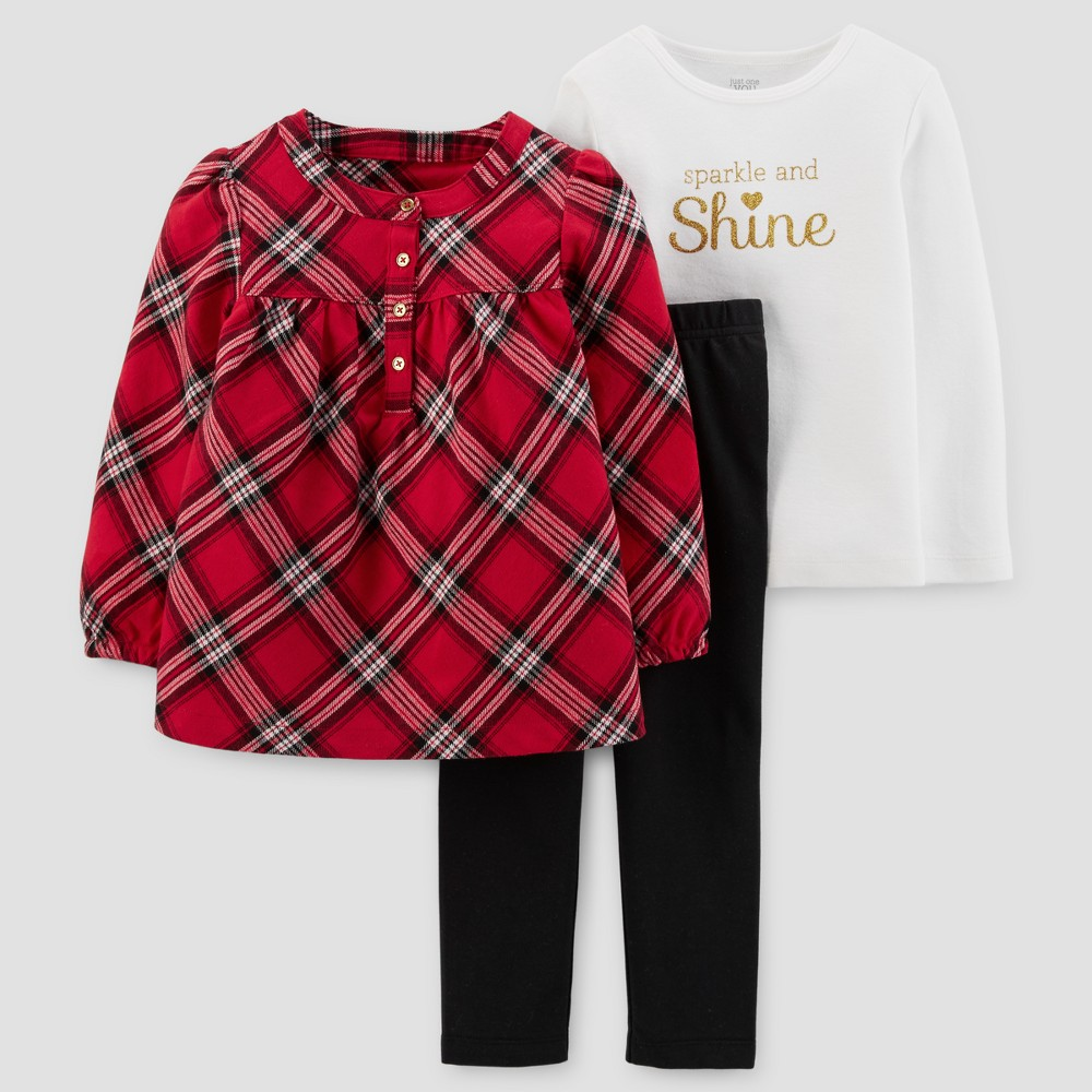 Toddler Girls 3pc Flannel Tunic Set - Just One You Made by Carters Red Plaid 5T