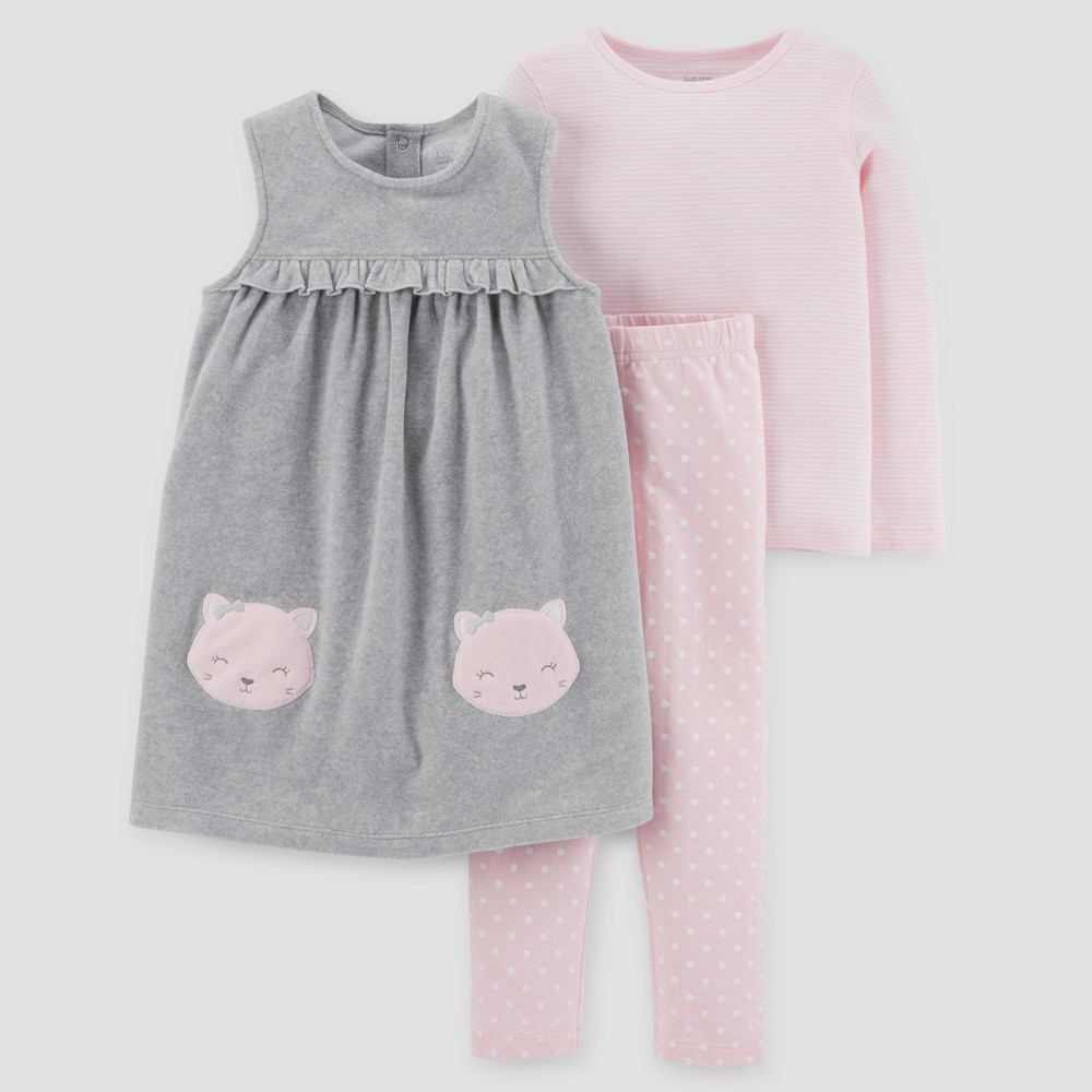 Toddler Girls 3pc Cats Fleece Jumper Set - Just One You Made by Carters Gray/Pink 4T