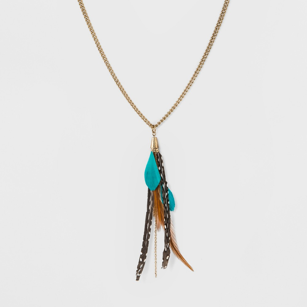 Sugarfix by BaubleBar Feather Pendant Necklace - Turquoise, Womens