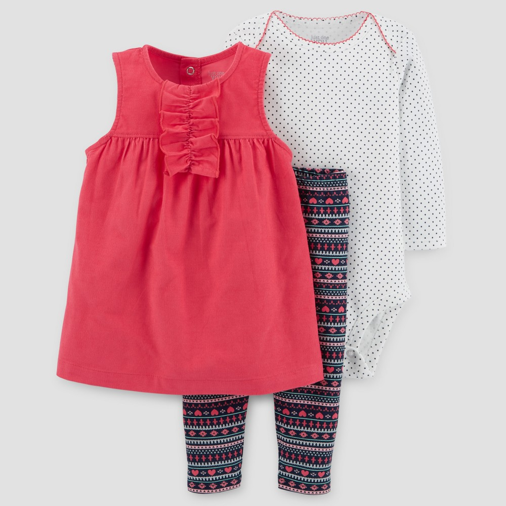 Baby Girls 3pc Corduroy Jumper Set - Just One You Made by Carters Watermelon/Fair Isle 18M, Pink