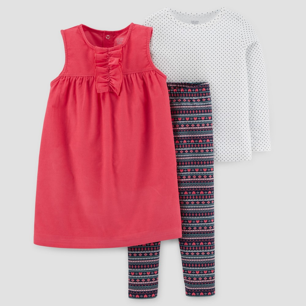 Toddler Girls 3pc Corduroy Jumper Set - Just One You Made by Carters Watermelon/Fair Isle 3T, Pink