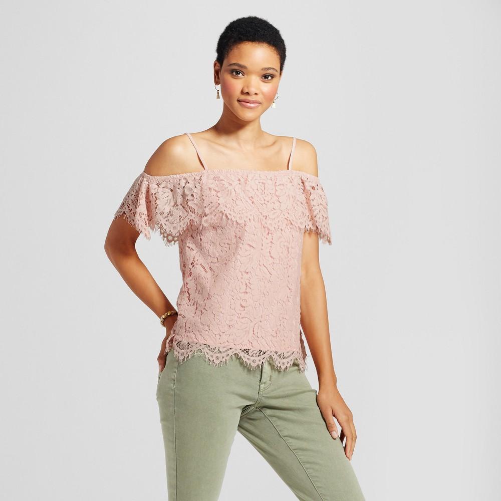 Womens Lace Off the Shoulder Flounce Top - Miss Chievous (Juniors) Pink XL