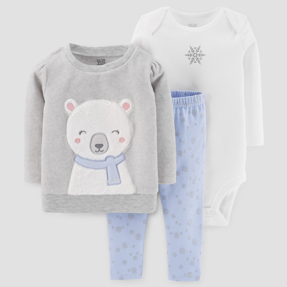 Baby Girls 3pc Fleece Polar Bear Set - Just One You Made by Carters Gray/Blue 12M