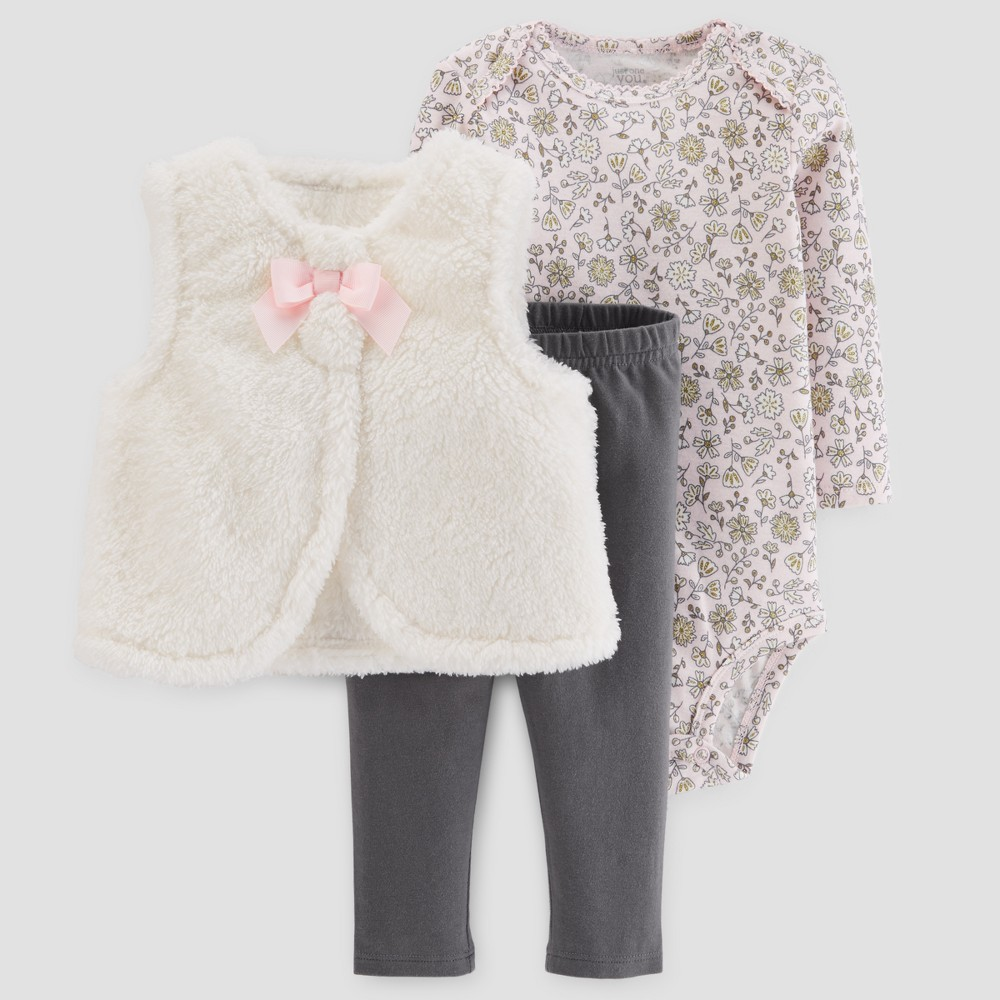 Baby Girls 3pc Sherpa Vest Set - Just One You Made by Carters Cream/Pink 6M, White