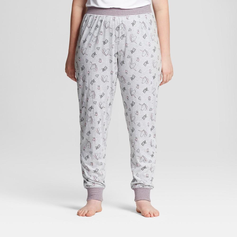 Womens Plus Size Sleep Nation Jersey Jogger Pajama Pants - Unicorn - Light Gray 2X