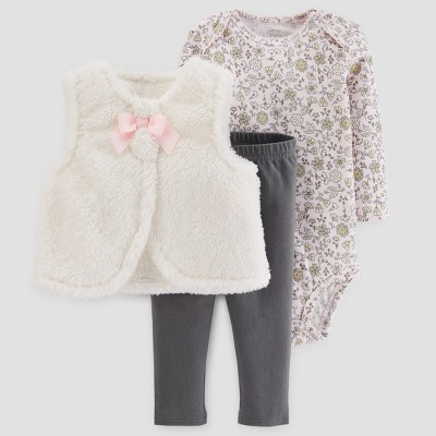 Baby Girls' 3pc Sherpa Vest Set - Just One You™ Made by Carter's® Cream/Pink 18M