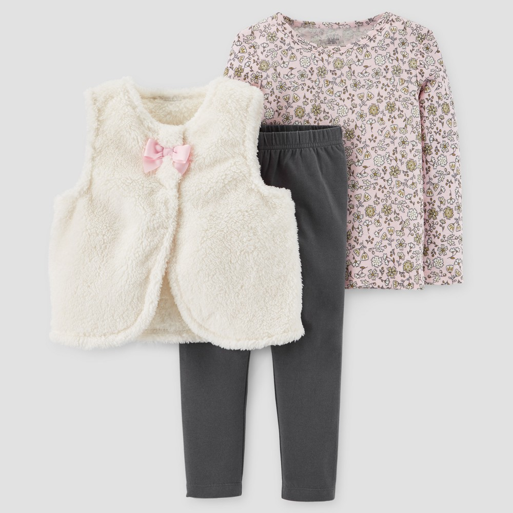 Toddler Girls 3pc Sherpa Vest Set - Just One You Made by Carters Cream/Pink 4T, White