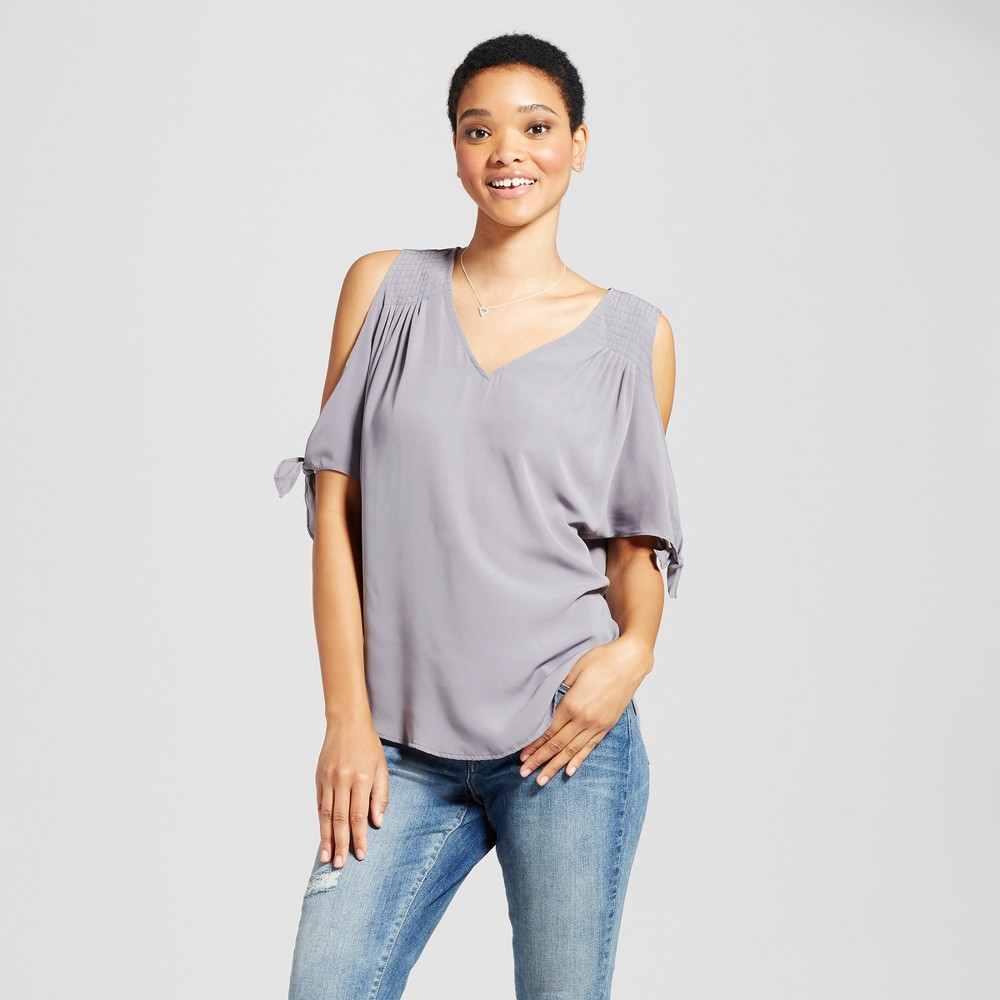 Womens Cold Shoulder Tie Sleeve V-Neck Top - Miss Chievous (Juniors) Gray L