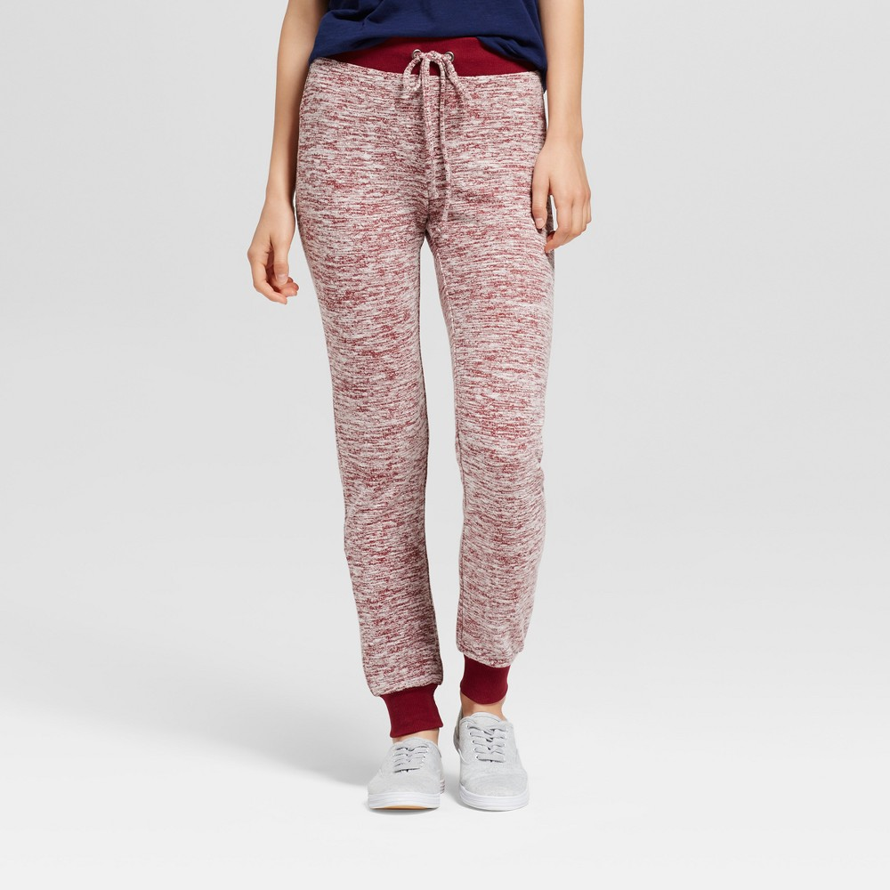 Womens Marled Brushed Jogger Sweatpants - Miss Chievous (Juniors) Burgundy (Red) L