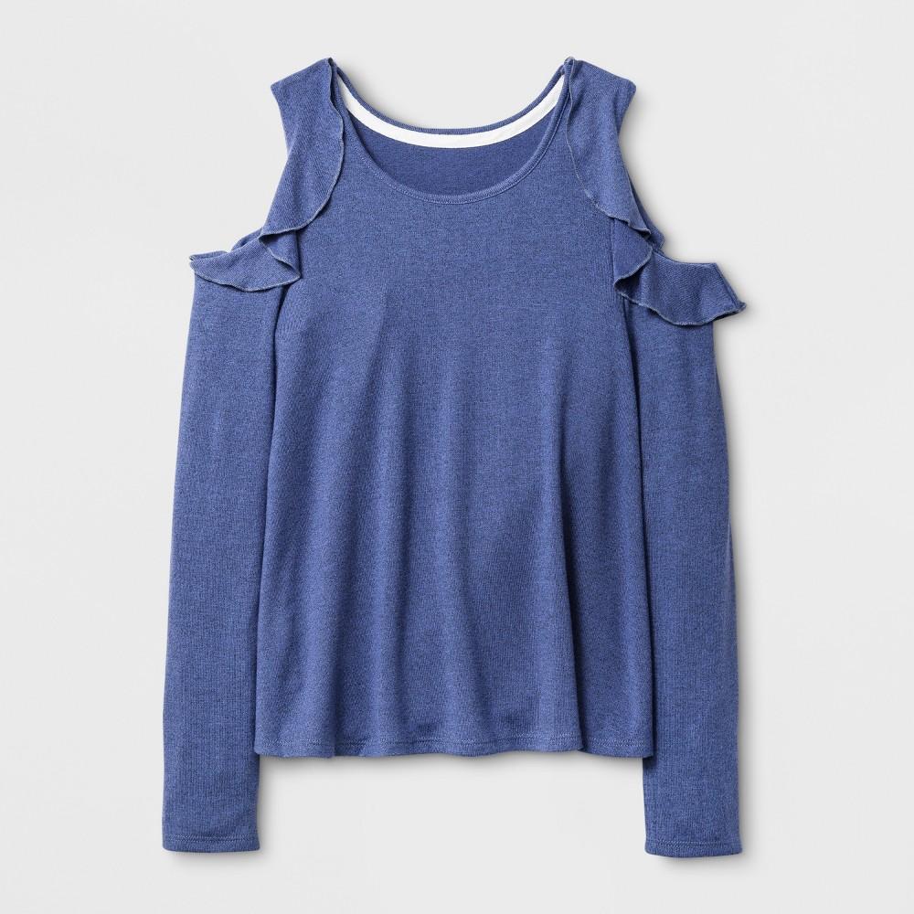 Girls Long Sleeve Cold Shoulder Ruffle T-Shirt - Art Class Bleached Denim M