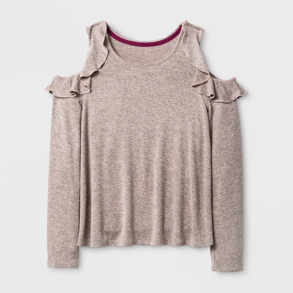 Girls Long Sleeve Cold Shoulder Ruffle T-Shirt - Art Class Pale Dogwood S