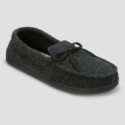 Men's dluxe by dearfoams® Drew Moccasin Slippers - Black M(9-10)