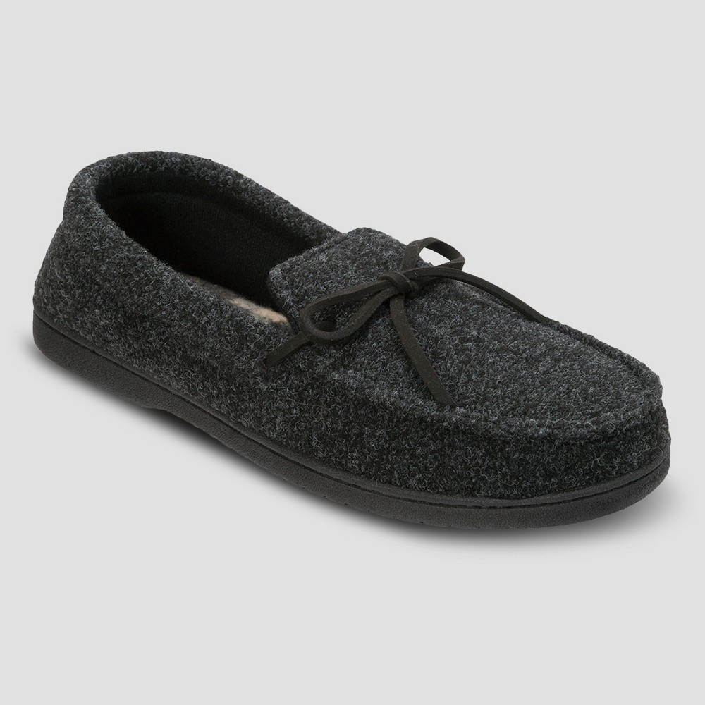 Mens dluxe by dearfoams Drew Moccasin Slippers - Black M(7-8), Size: M (9-10), Gray