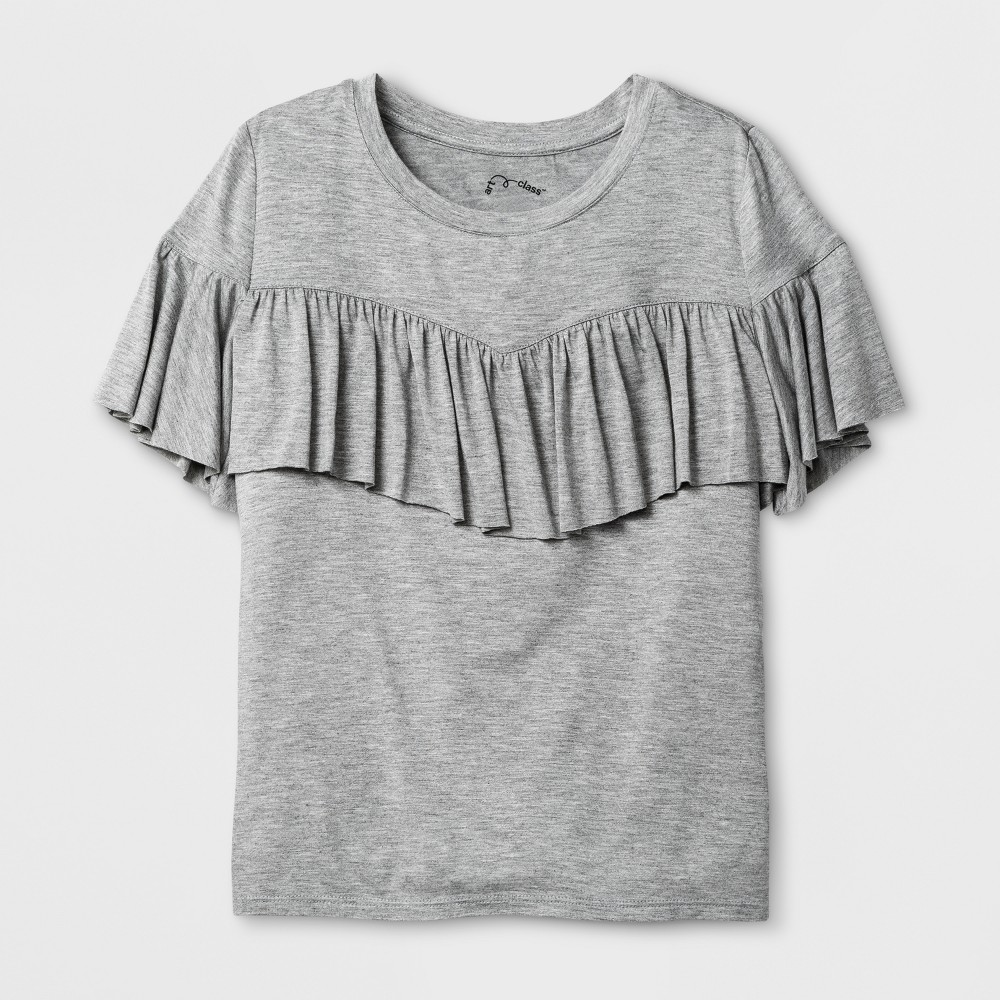 Girls Ruffle T-Shirt - Art Class Heather Gray XS