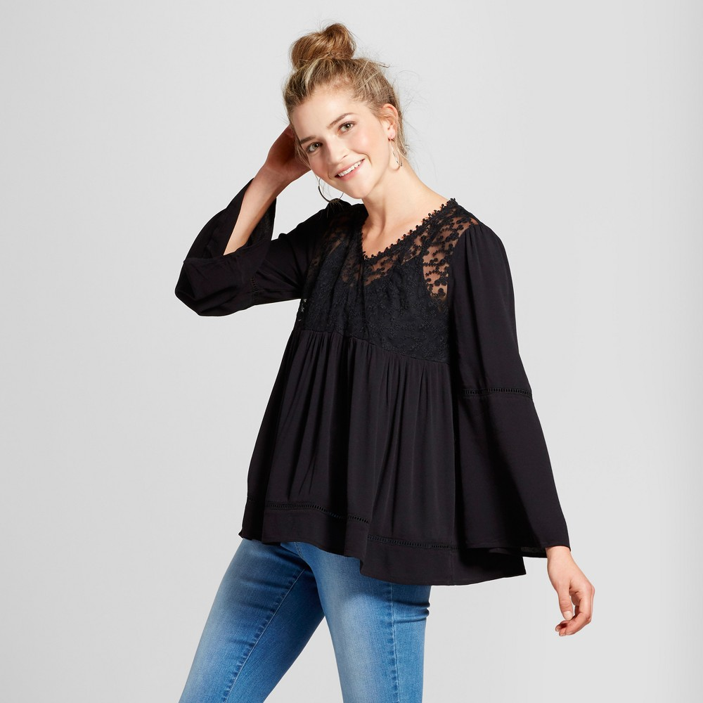 Womens Embroidered Mesh Yoke Top - Knox Rose Black M