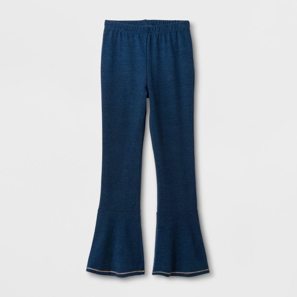 Girls Ruffle Knit Denim Pants - Art Class Indigo XS, Blue
