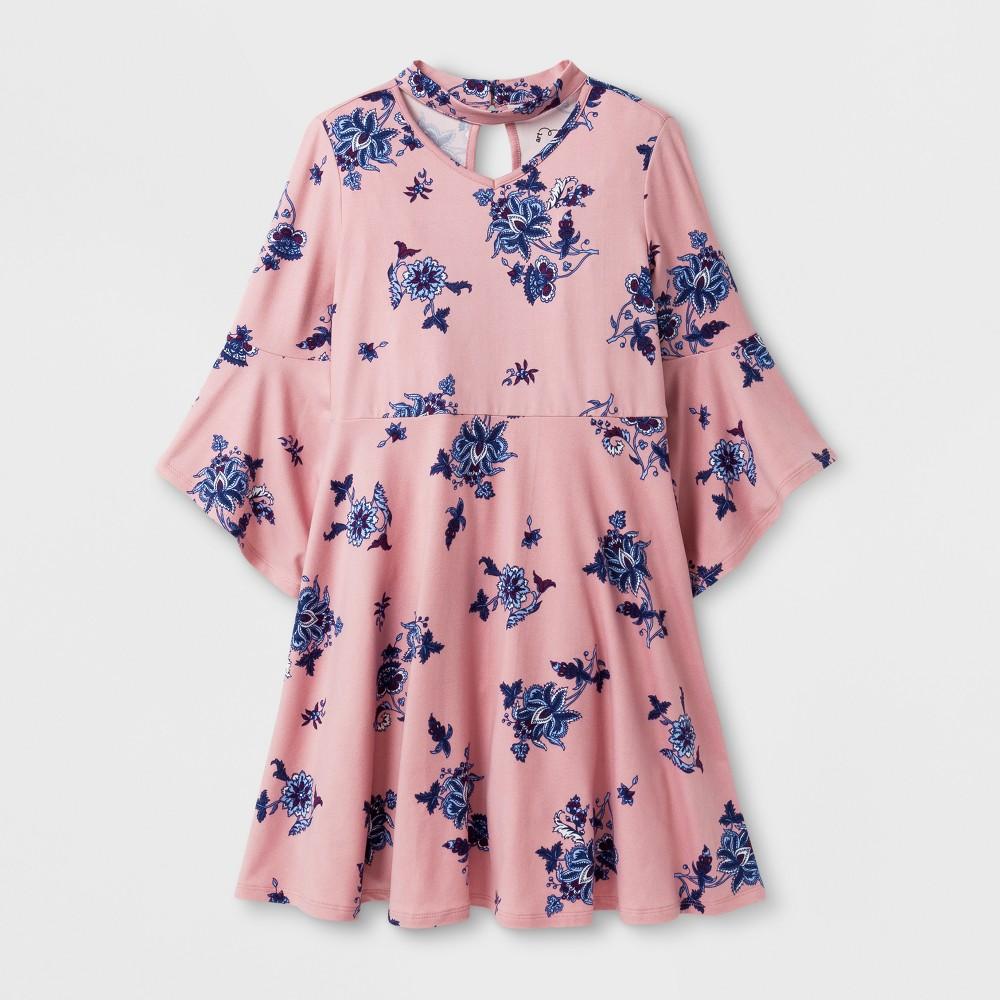 Girls Printed Knit Dress - Art Class Dusty Pink XL