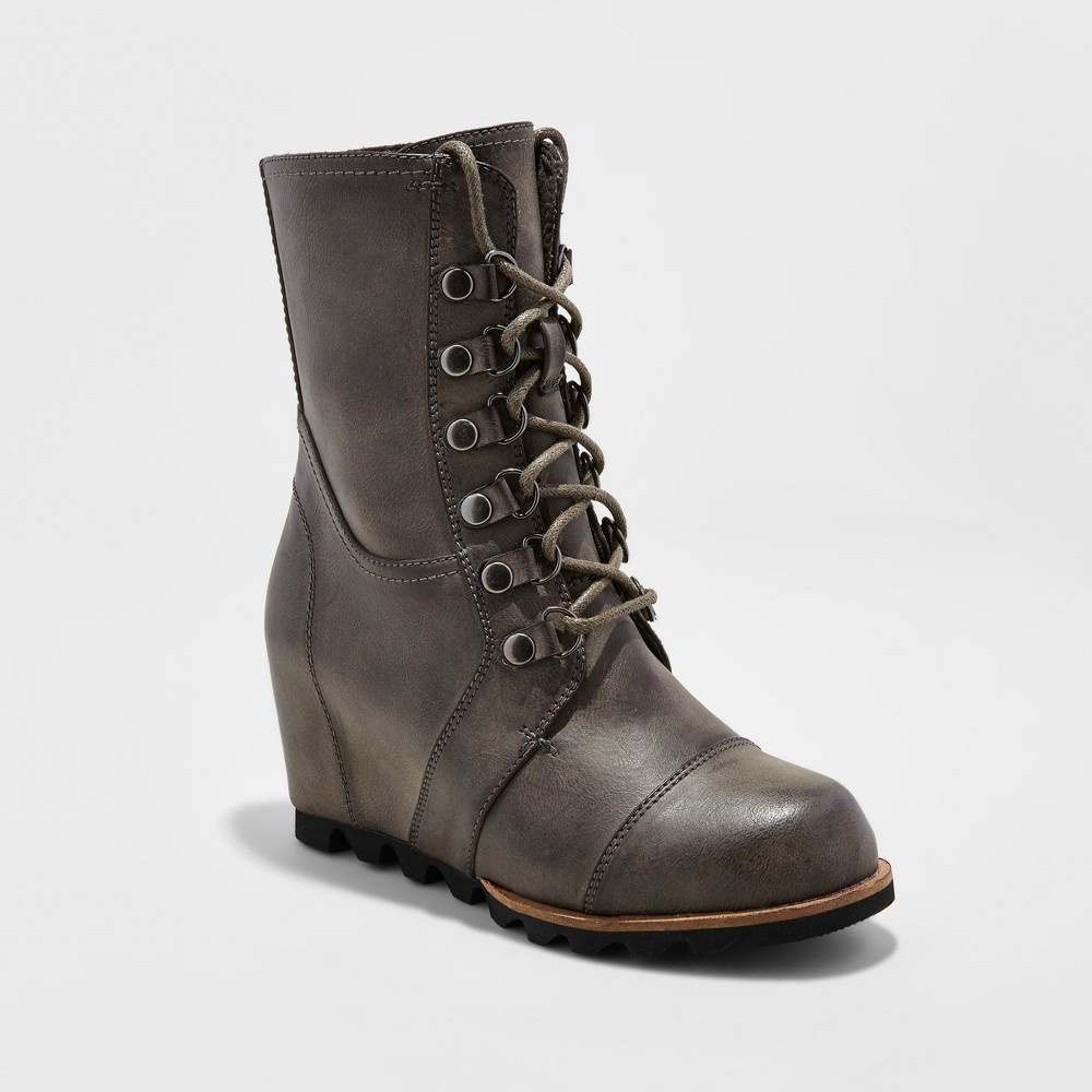 Womens Marisol Lace Up Wedge Hiker Boots - Merona, Size: 5.5, Gray