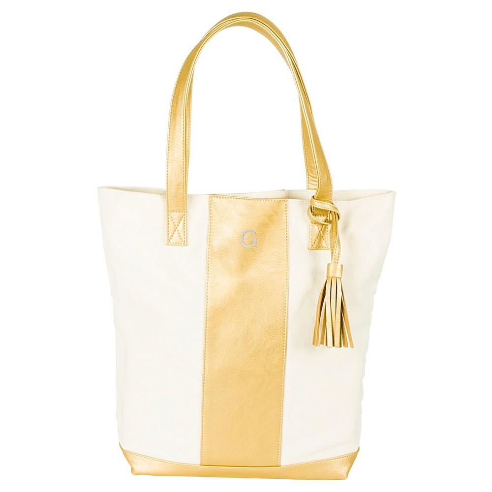 Cathys Concepts Monogram Weekender Tote Handbag - Gold G, Womens, Gold - G