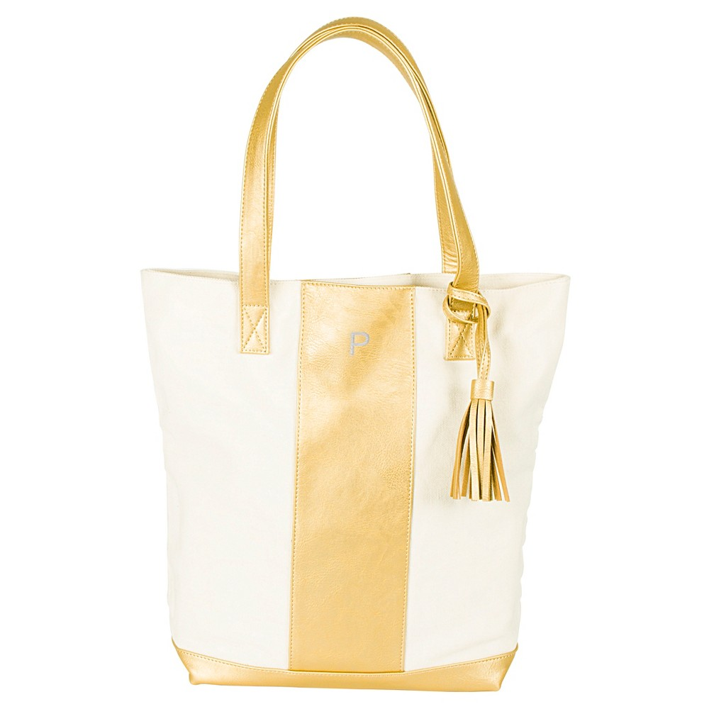 Cathys Concepts Monogram Weekender Tote Handbag - Gold P, Womens, Gold - P