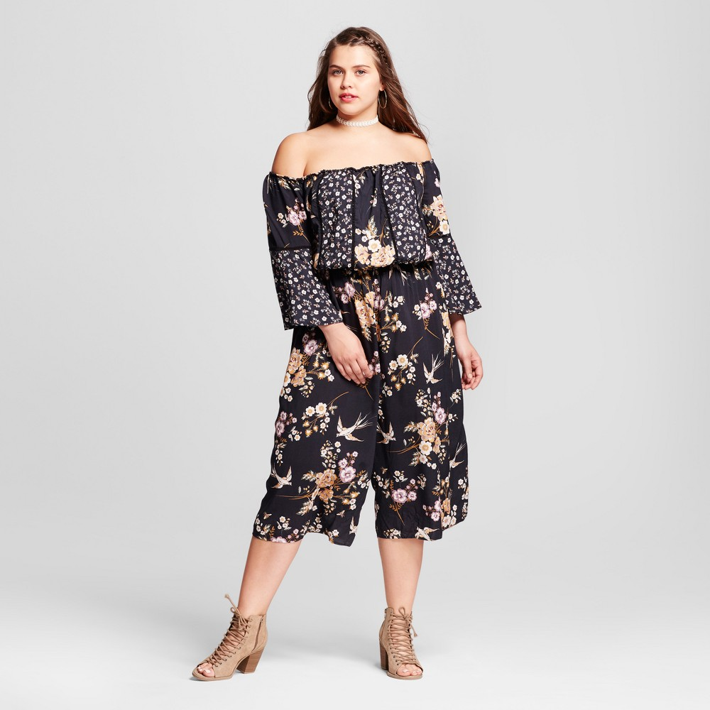 Womens Plus Size Off the Shoulder Printed Woven Jumpsuit - Xhilaration Black 1X, Size: X