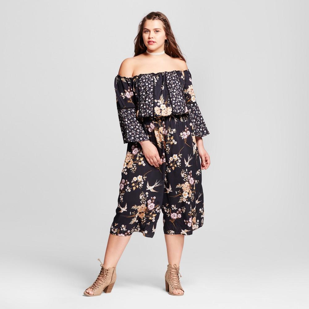 Womens Plus Size Off the Shoulder Printed Woven Jumpsuit - Xhilaration Black 3X