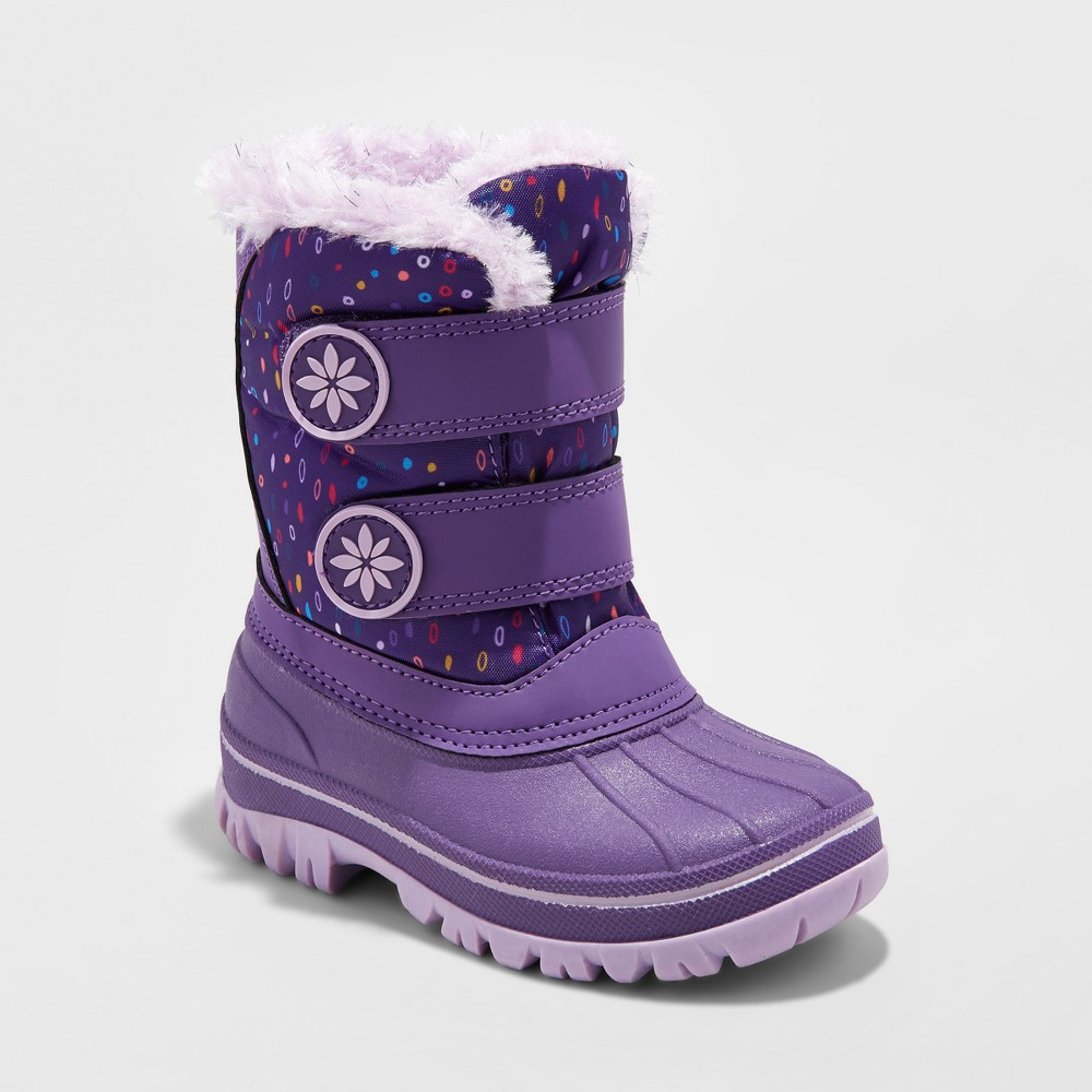 Toddler Girls Melrose Velcro Winter Boots - Cat & Jack Purple 9-10, Size: L (9-10)