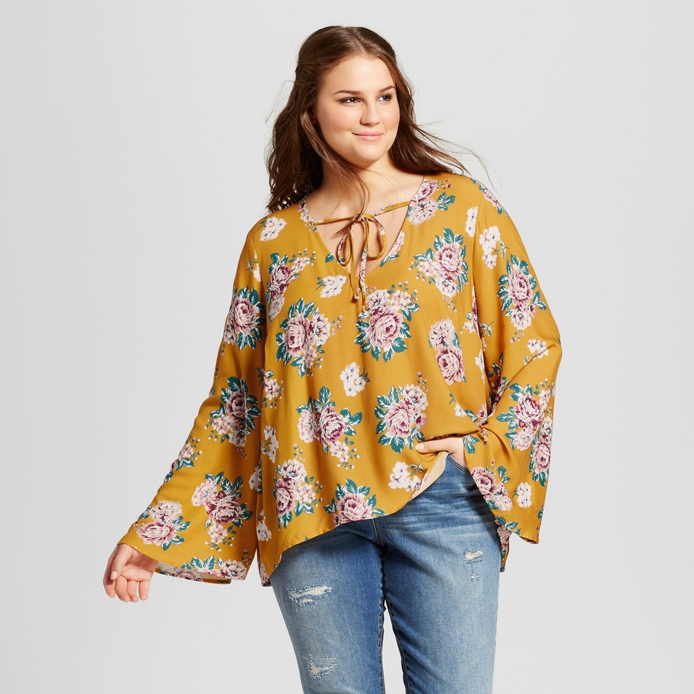 Womens Plus Size Printed Woven Bell Sleeve Top - Xhilaration Yellow 1X