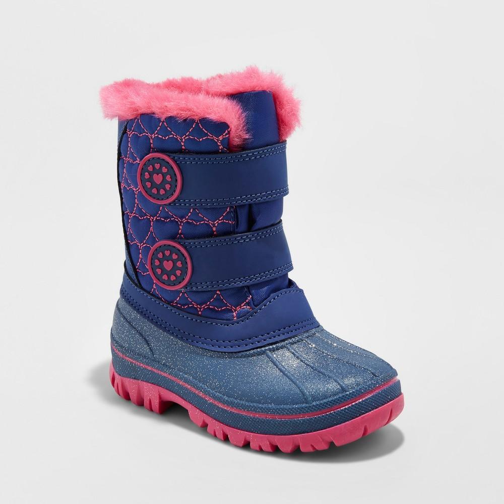 Toddler Girls Priya Velcro Winter Boots - Cat & Jack Navy 7-8, Size: M (7-8), Blue