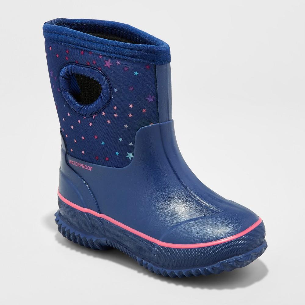 Toddler Girls Moonstone Neoprene Winter Boots - Cat & Jack Navy 5-6, Size: S (5-6), Blue