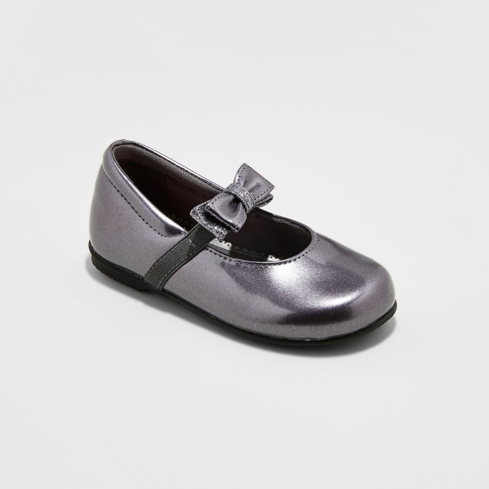Toddler Girls Rachel Shoes Mary Jane Shoes Emily - Pewter (Silver) 10