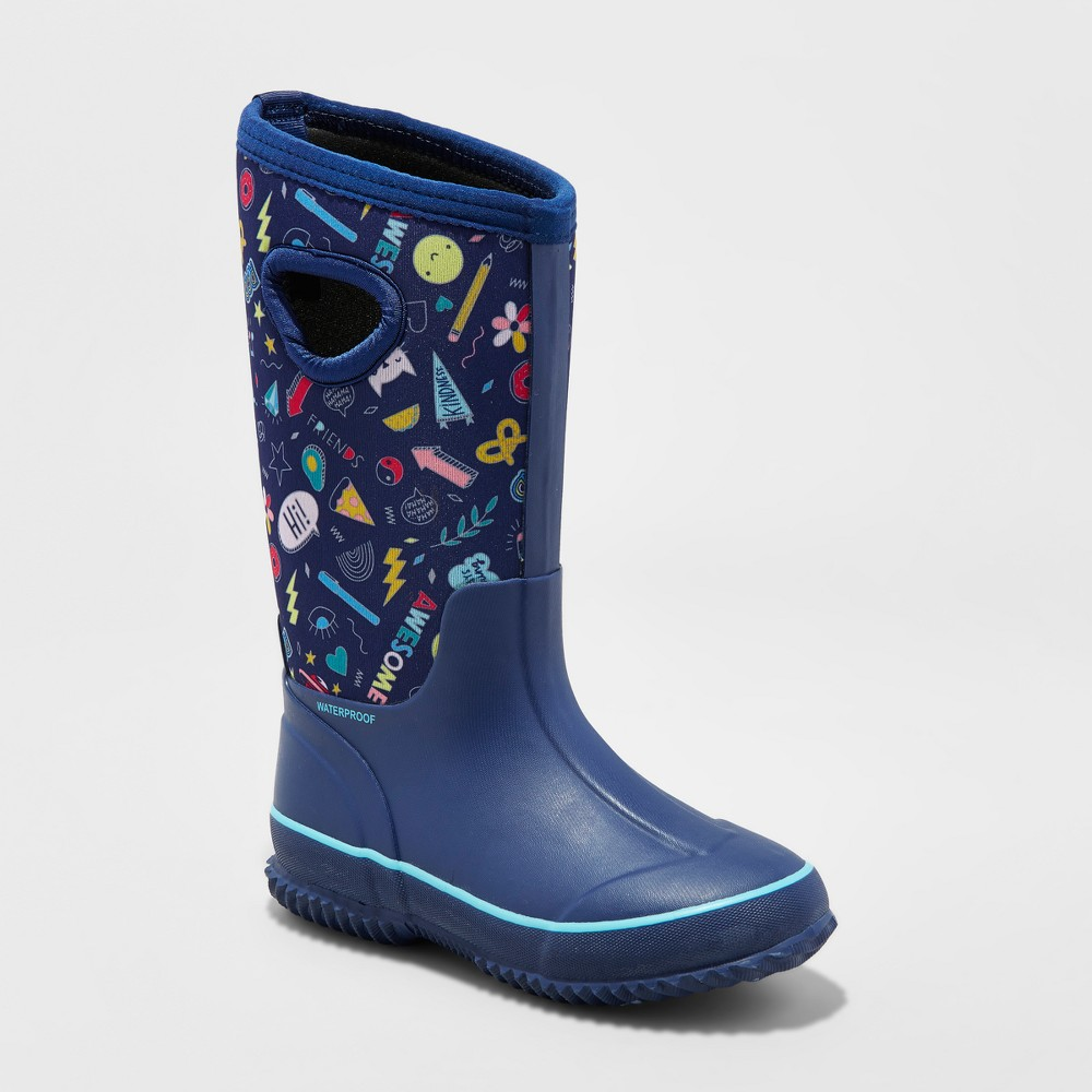 Girls' Polly Neoprene Winter Boots - Cat & Jack Navy (Blue) 5